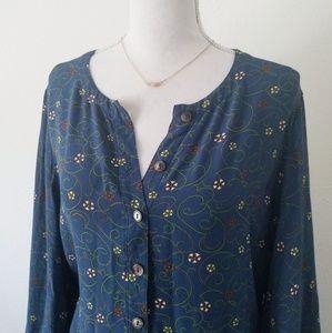 Vintage GAP Blue Button Front Long Sleeve Dress M